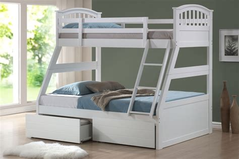 White Wood Bunk Beds White Wooden Three Sleeper Bunk Bed With Storage Bunk Beds