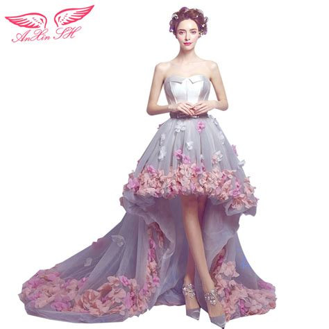 Dress Flower Princess anxin sh before and korean pink flower princess trailing prom dress flower lace prom