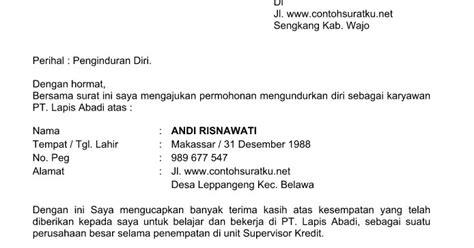 contoh surat pengunduran diri karyawan terbaru yang resmi