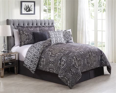 7 piece minka gray purple reversible comforter set