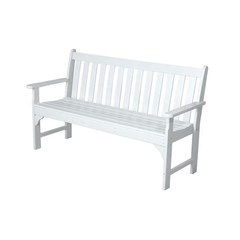 white patio bench polywood vineyard 60 in white patio bench gnb60wh the home depot