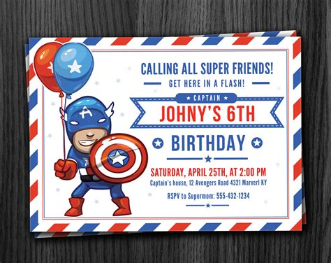 Captain America Birthday Card Template by Captain America Birthday Invitation