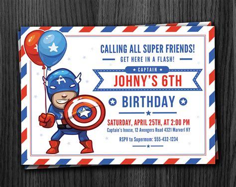 Captain America Birthday Card Captain America Birthday Invitations Laveyla Com