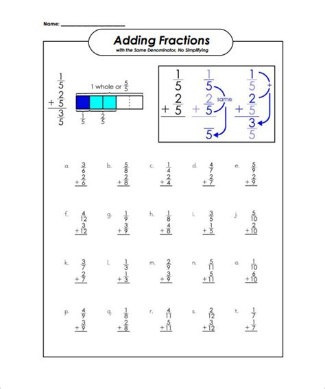 adding fractions card template number names worksheets 187 adding and subtracting fractions