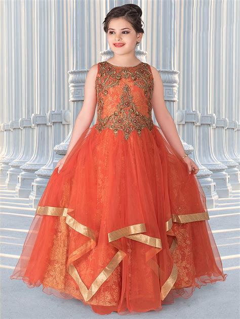 pattern of net dresses orange net frill pattern gown girls gown g3 colection