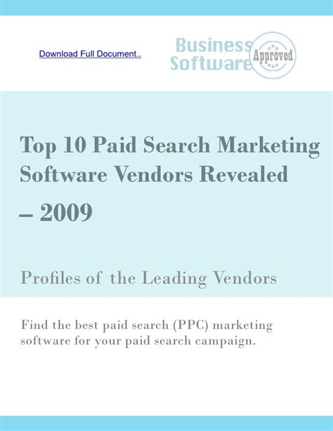Best Paid Search Searching For Paid Search Marketing Software Top 10 Paid Search