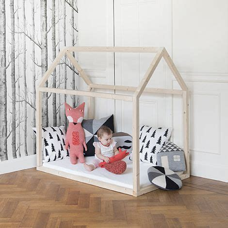 Toddler Floor Bed Frame Simple Wood Frame House Floor Bedframe For Toddlers With Birch Tree Wallpaper Via Woonblog