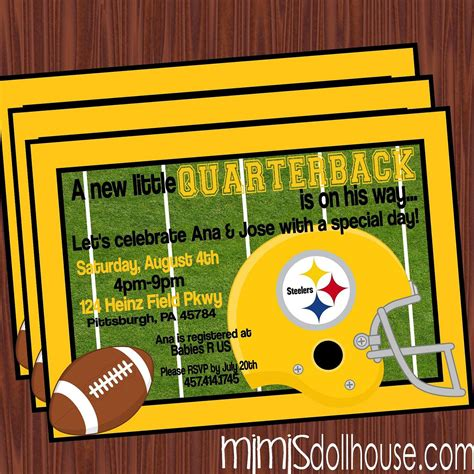Steelers Baby Shower Ideas by Football Baby Shower Invitation Steelers Baby Shower