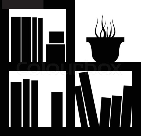 Wall Bookcase Library Icon Furniture Icon Office Stock Vector