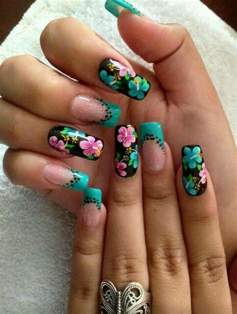 imagenes de uñas decoradas pinceladas 2015 u 241 as hermosas turquesa flores u 241 as decoradas