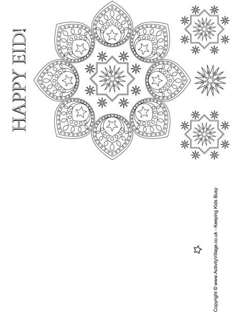 Happy Eid Colouring Card Card Templates To Color