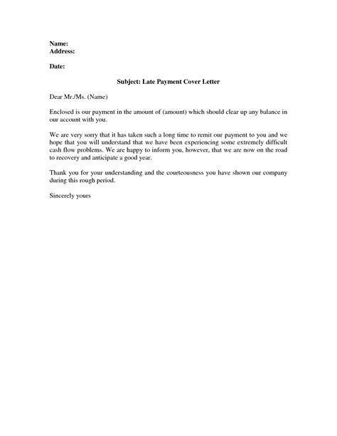 Letter Of Explanation Late Credit Card Payment late payment letter template