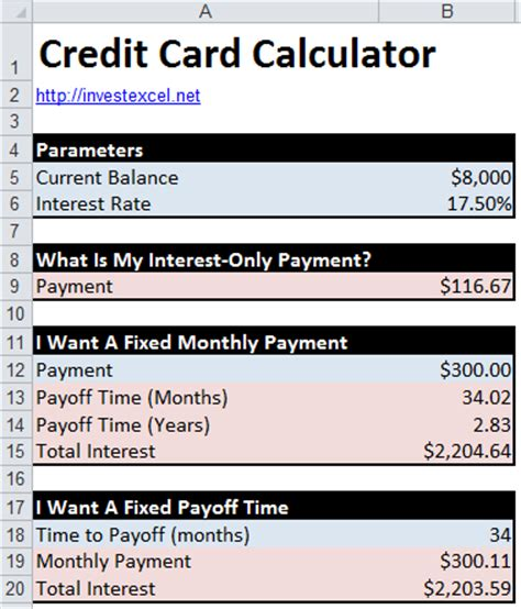 Credit Card Calculator Excel Template Credit Card Math