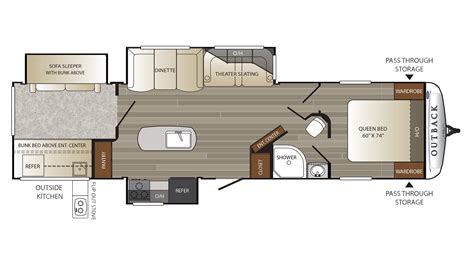outback rv floor plans 2018 keystone outback 325bh cer ebay