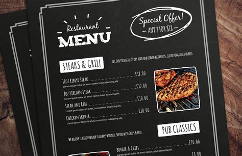 menu cards templates for restaurant chalkboard restaurant menu template medialoot