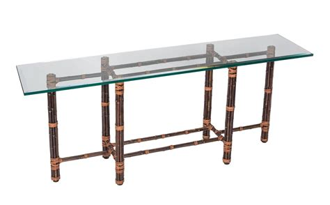 sofa table with glass top bamboo glass top sofa table by mcguire for sale at 1stdibs