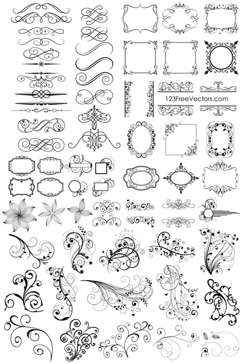 vector art photoshop tutorial pdf 65 free floral vector ornaments pack by 123freevectors on