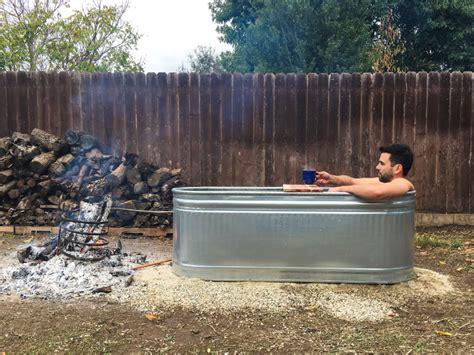 stock tank bathtub backyard hot tub