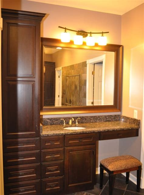 Cherry Finish Bathroom Cabinets With Granite Countertop Bathroom Countertop Storage Cabinets