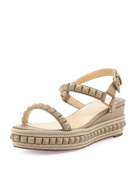 beige wedge sandal christian louboutin cataclou studded platform wedge sandal