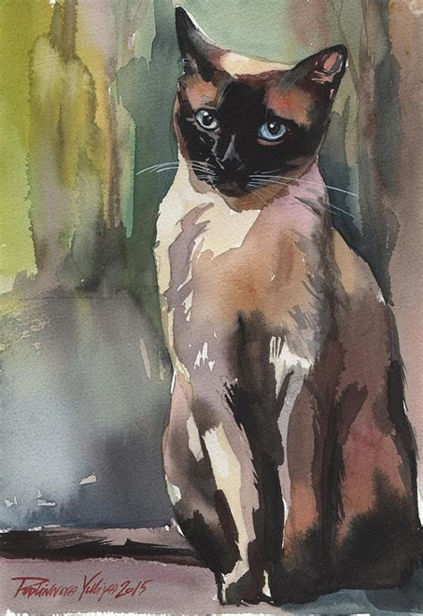 painting for cats original watercolor painting cat siamese brown kitten