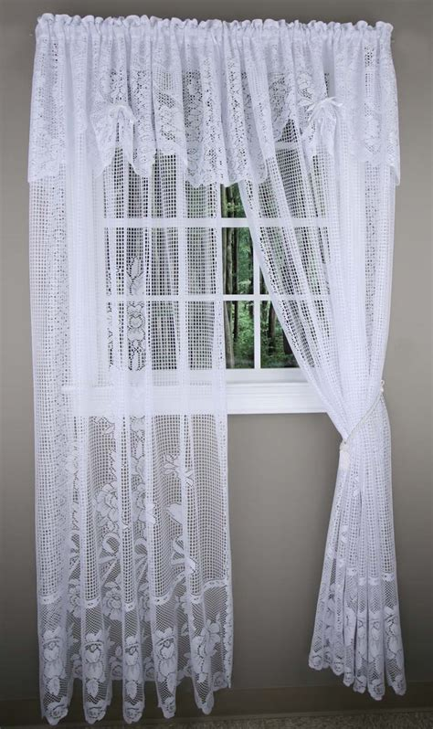 cheap lace curtains maragret lace curtain panels with attached valance