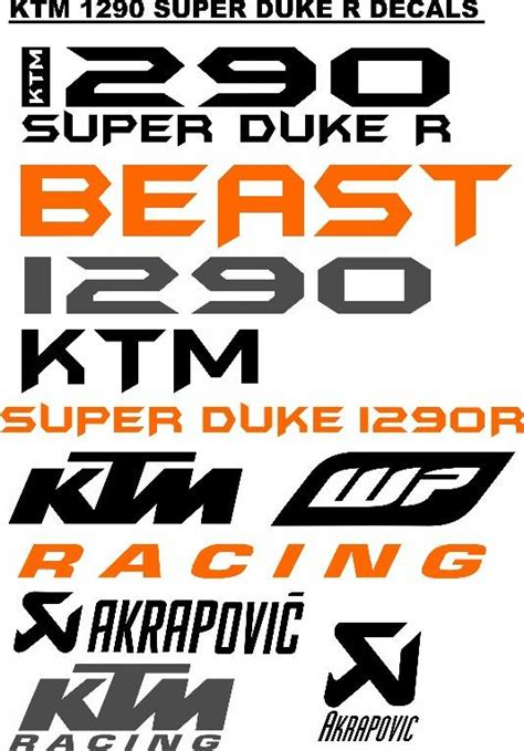 Ktm Aufkleber Kit by Ktm Super Duke 1290r Decals Stickers Graphics Kits Jhb