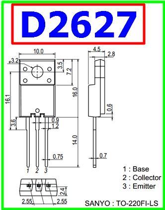 transistor d2627 datasheet d2627 datasheet vcbo 1500v npn transistor sanyo
