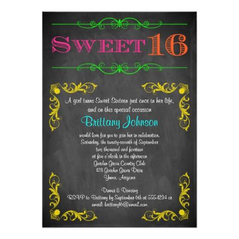 trendy blue neon chalkboard birthday sweet 16 birthday invitation neon chalkboard zazzle