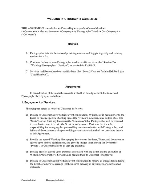 photographer agreement template wedding photography contract template free printable