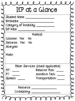 Iep At A Glance Template by Mrs H S Resource Room Special Ed Summer Hop Week