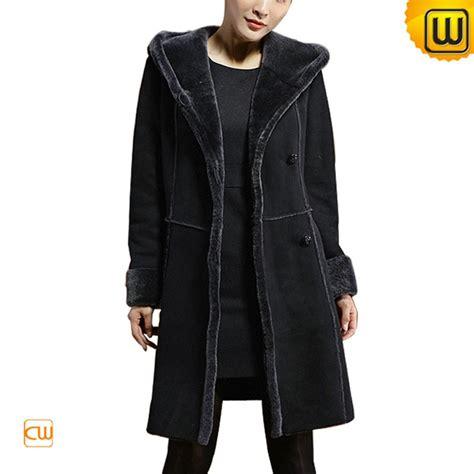 Hooded Coat sheepskin shearling hooded coat black cw640210