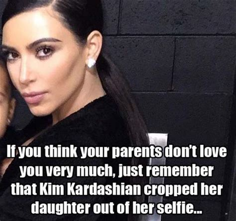 Kim Kardashian Meme - kim kardashian cropped her daughter out of her selfie