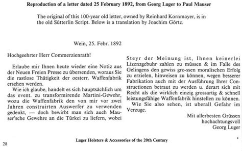 Letter Of Credit German Translation La Luger Artiglieria The Luger Artillery George Luger Letter 1892 By Mauro Baudino
