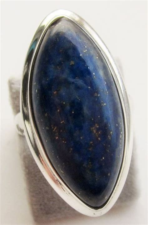 silver ring with afghan lapis lazuli ring size 18
