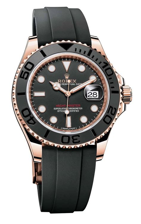 rolex yacht master 116655 in everose gold with black