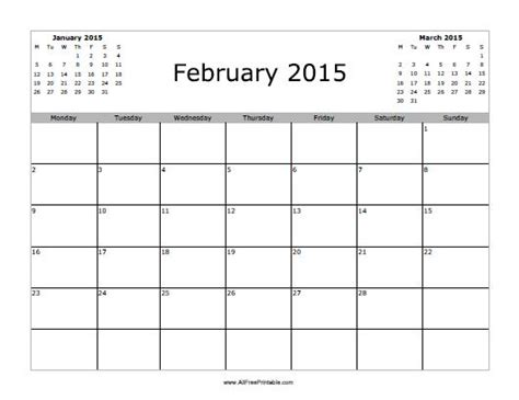 February 2015 Printable Calendar February 2015 Calendar Free Printable Allfreeprintable