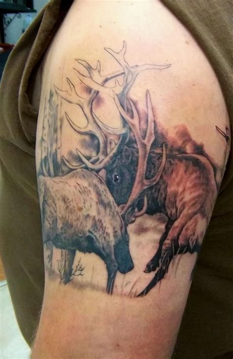 elk tattoos designs elk fighting by holy roller husbands ideas