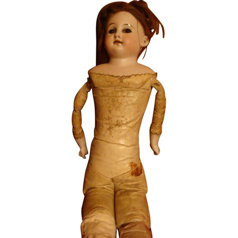 bisque doll leather antique kid leather cloth bisque or german