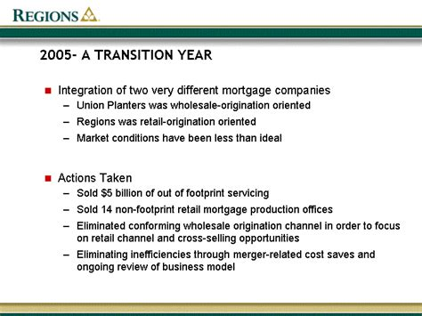 Union Planters Mortgage by 2005 A Transition Yearsuccessful Merger Execution Our