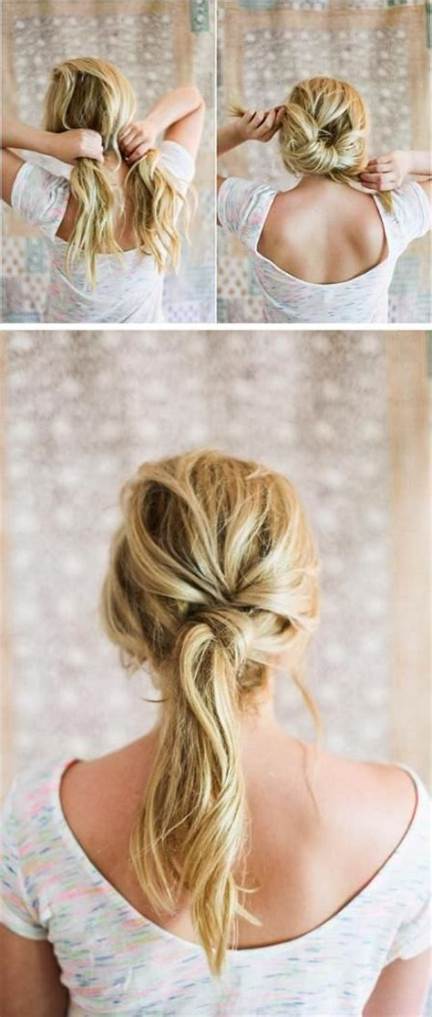 how to tie a twisted pony tail step by step easy twist ponytail hair pinterest bobby pins