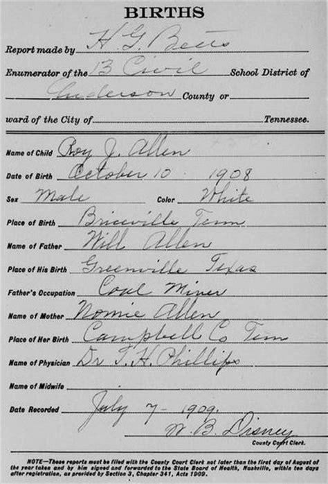 Tennessee Birth Records Genealogy Tennessee Birth Certificates Free
