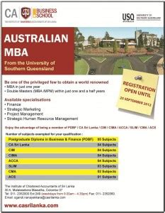 Best In Australia For Mba In Hr by Of Sothern Queensland Mba In Srilanka 171 Synergyy