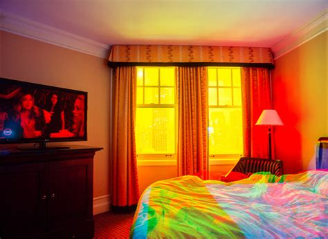 hotels with multiple bedrooms brightly colored multiple exposure photographs of hotel rooms designtaxi com