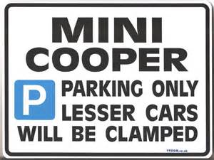 Mini Cooper Sign In Mini Cooper Gift Parking Sign