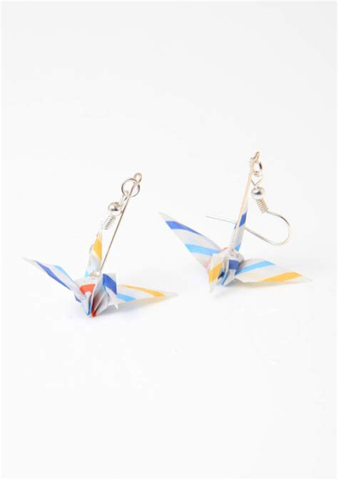 Handmade Origami Paper - stripey handmade origami paper crane earrings striped