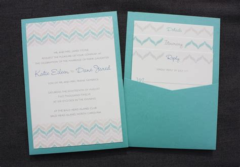 panel pocket wedding invitations zig zag chevron in pastels neutrals turquoise clutch pock with burlap wedding invitation bl