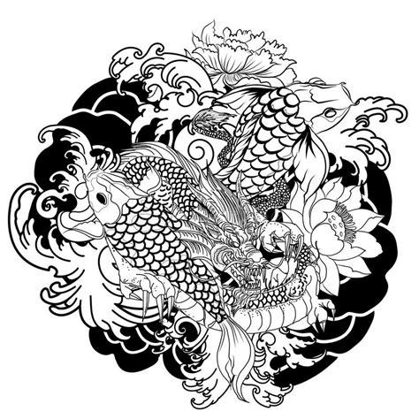tattoo carpe koi noir et blanc hand drawn dragon and koi fish with flower tattoo for arm