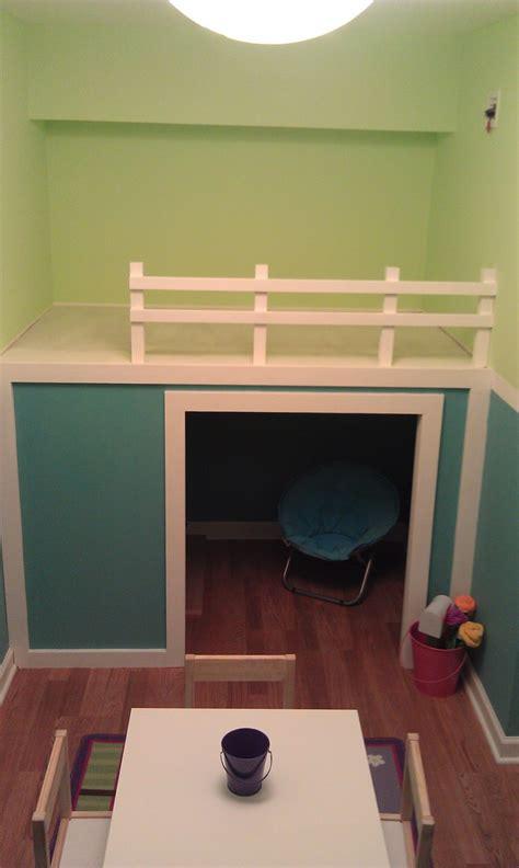 ana white playhouseloft bed  small playroom diy