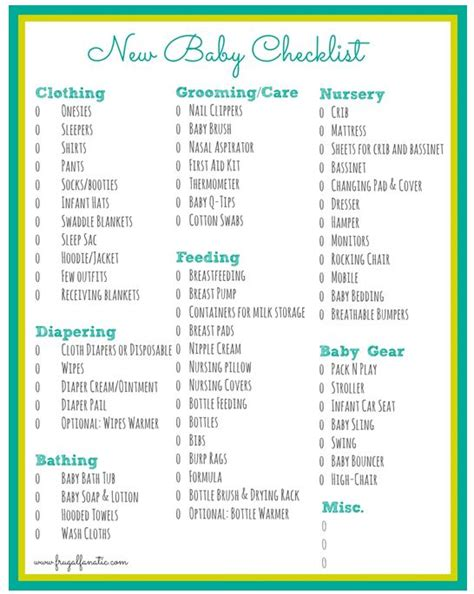 Checklist Of Things You Need For A Picnic by Baby Checklist Free Printable Babies Printing And Free